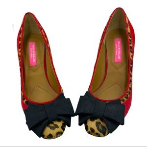 Isaac Mizrahi Red Suede Leopard Print Pony Hair